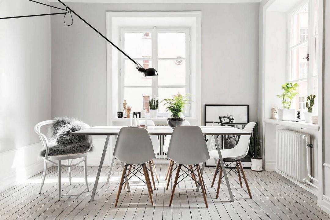 A skandináv ebédlőkben gyakran talákozhatsz az ikonikus Vitra-márkájú DSW székekkel.