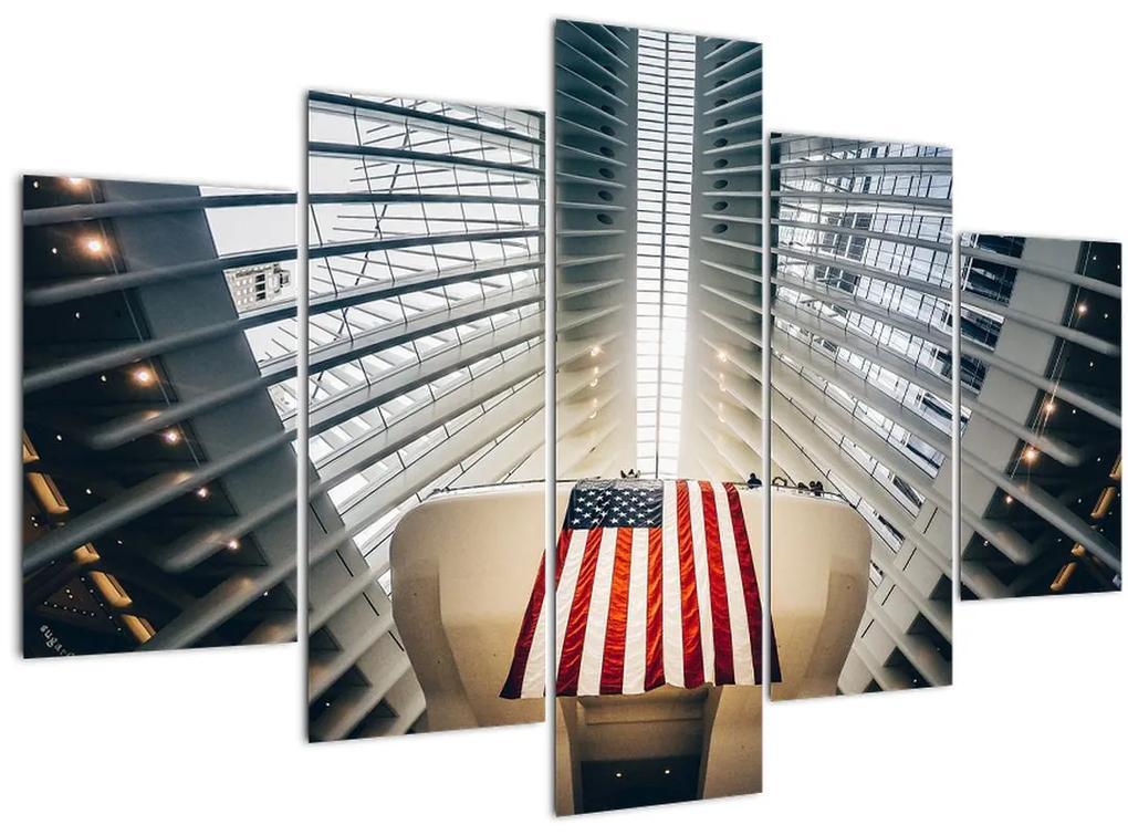 Építkezés az USA zászlóval képe (150x105 cm)