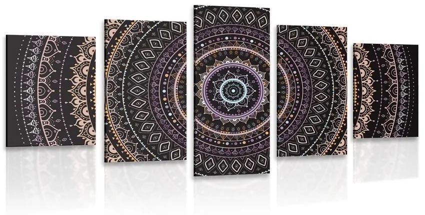 5 részes kép Mandala nap mintával lila árnyalatban