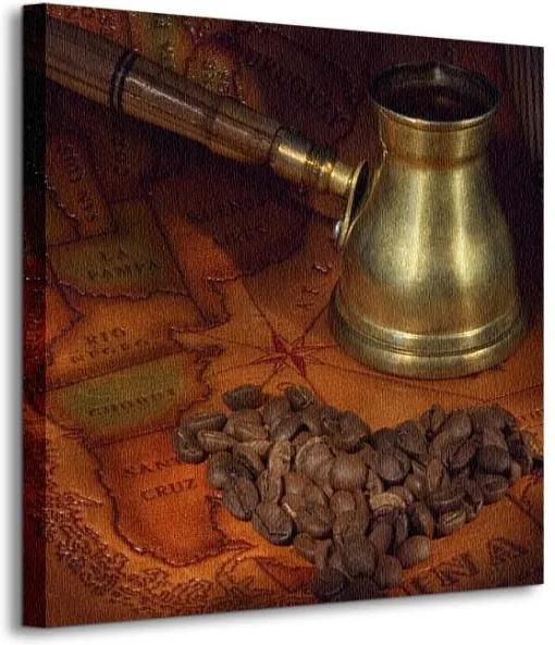 Vászonkép Kávé és térkép Belova Tatiana 40x40cm CKS0572