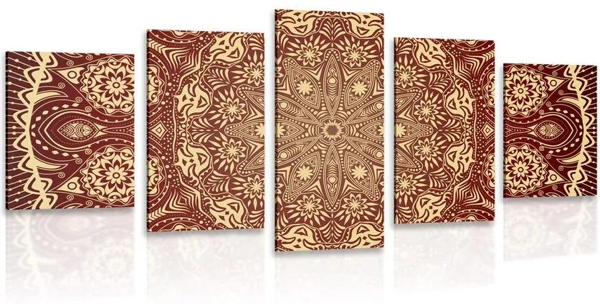 5 részes kép dísz Mandala bordó színben