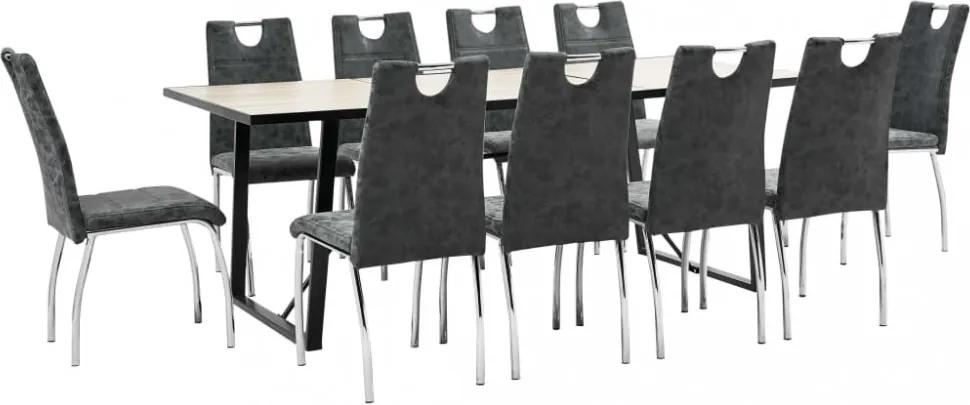 11-részes fekete műbőr étkezőgarnitúra
