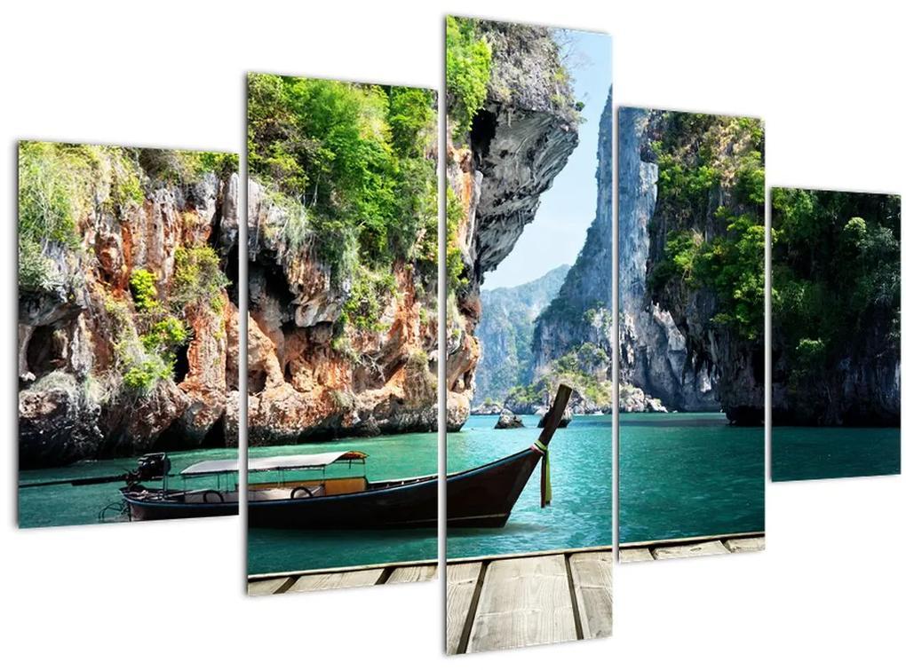 Hosszú hajó a tengerparton képe (150x105 cm)
