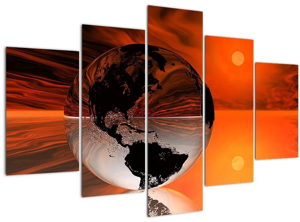 Egy absztrakciós földgömb képe (150x105 cm)