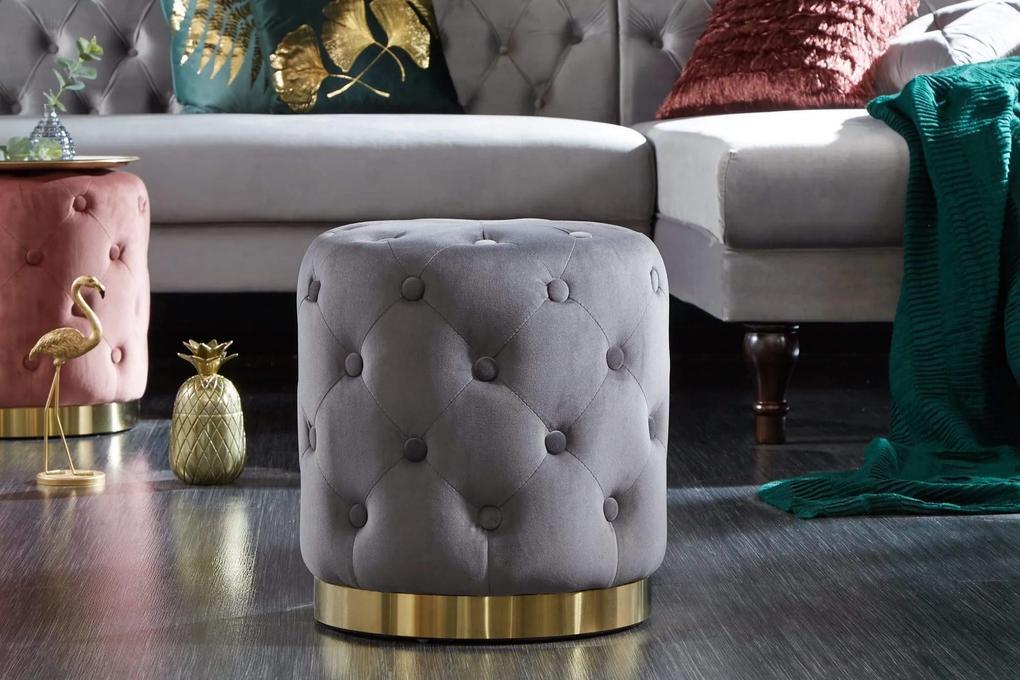 MODERN BAROCK sötétszürke és arany puff 36cm
