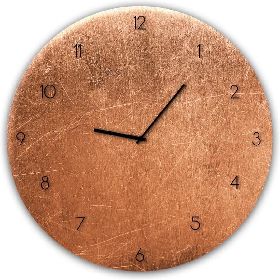Glassclock Copper falióra, ⌀ 30 cm - Styler
