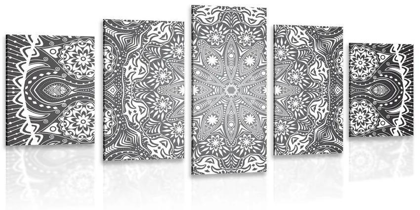 5 részes kép dísz Mandala fekete fehérben