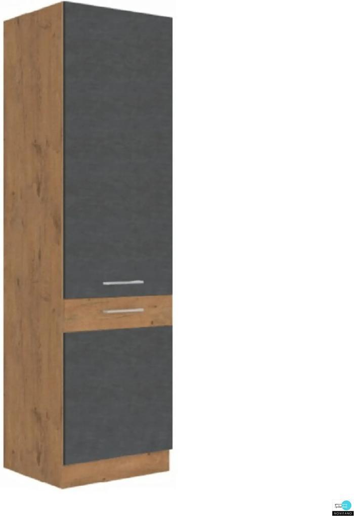 Magas szekrény, szürke matt/tölgy lancelot, VEGA 60 DK-210 2F