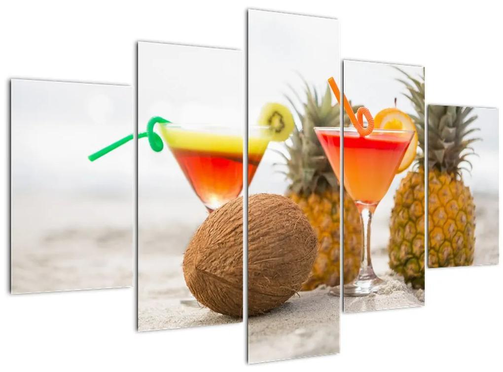 Ananász és csésze képe a strandon (150x105 cm)