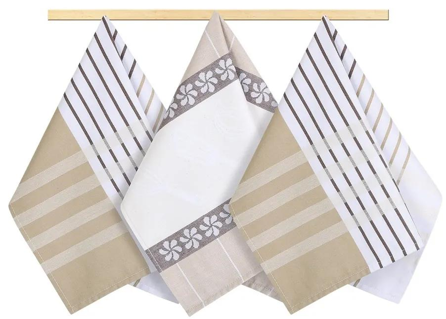 Bellatex Stripe törlőruha, bézs, barna, fehér, 50 x 70 cm, 3 db-os szett