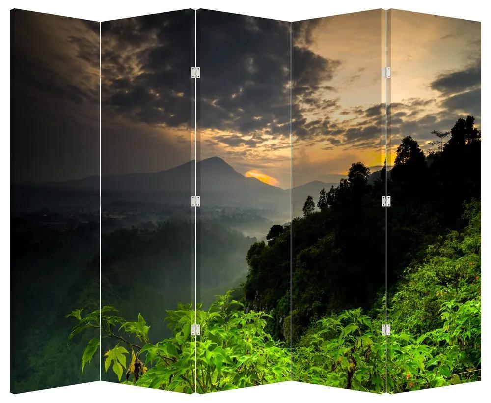 Paraván - Zöld hegyvidéki táj (225x180 cm)