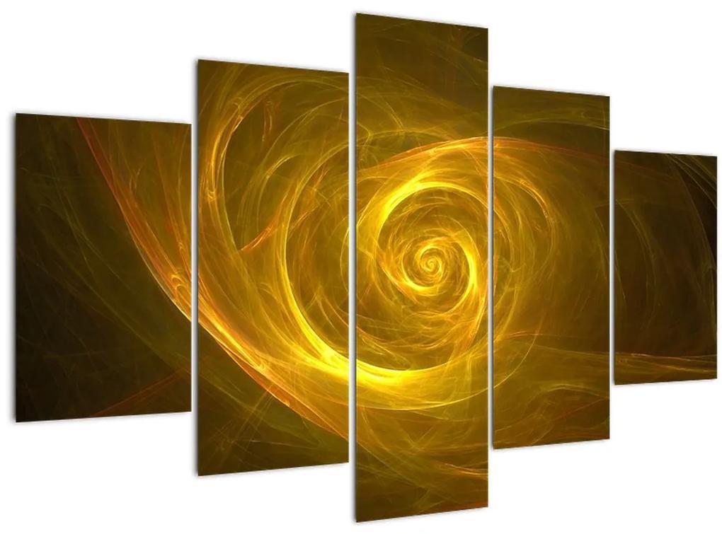 Absztrakt sárga spirál képe (150x105 cm)