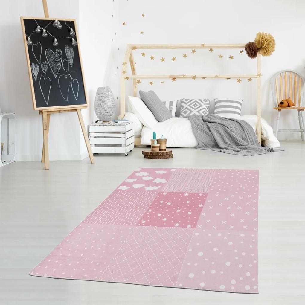 PATCHWORK mosható gyerekszõnyeg – rózsaszín