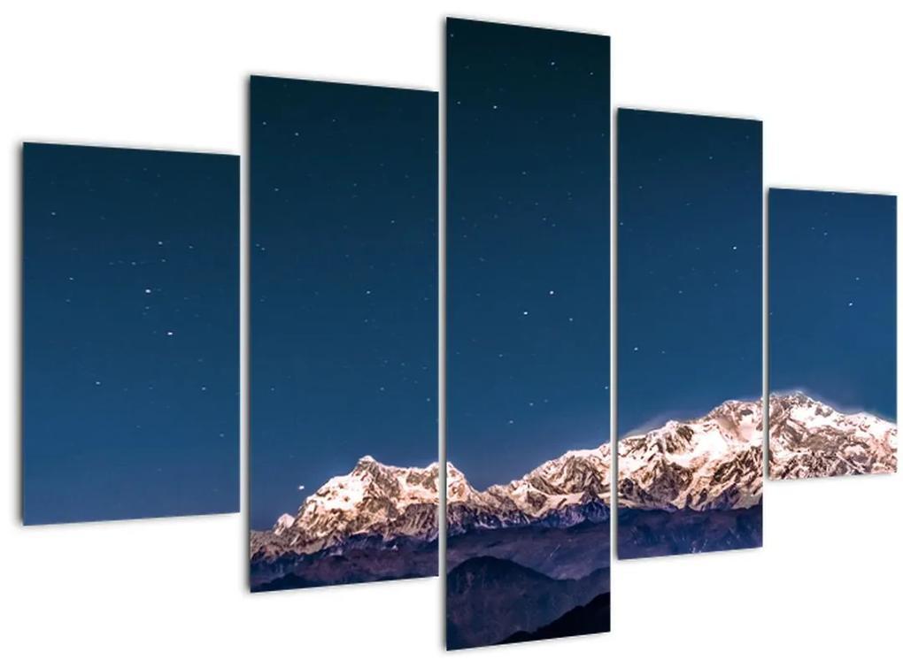 A hegyek és az éjszakai égbolt képe (150x105 cm)