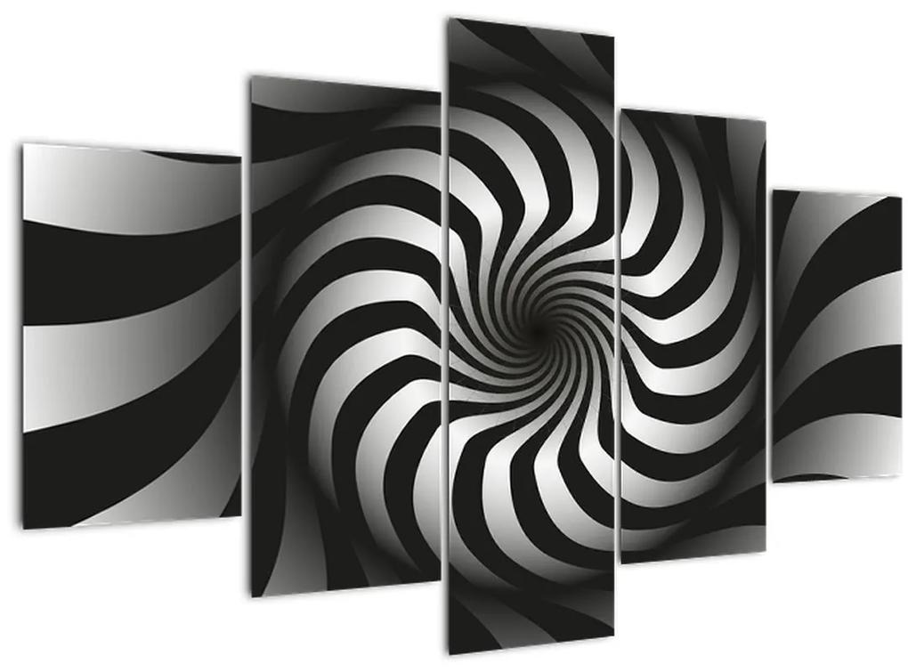 Absztrakt képet egy fekete-fehér spirál (150x105 cm)
