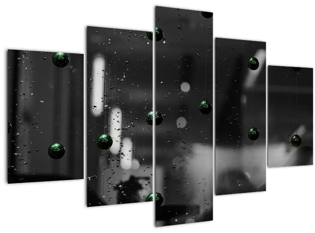 Absztrakt kép - zöld golyó (150x105 cm)
