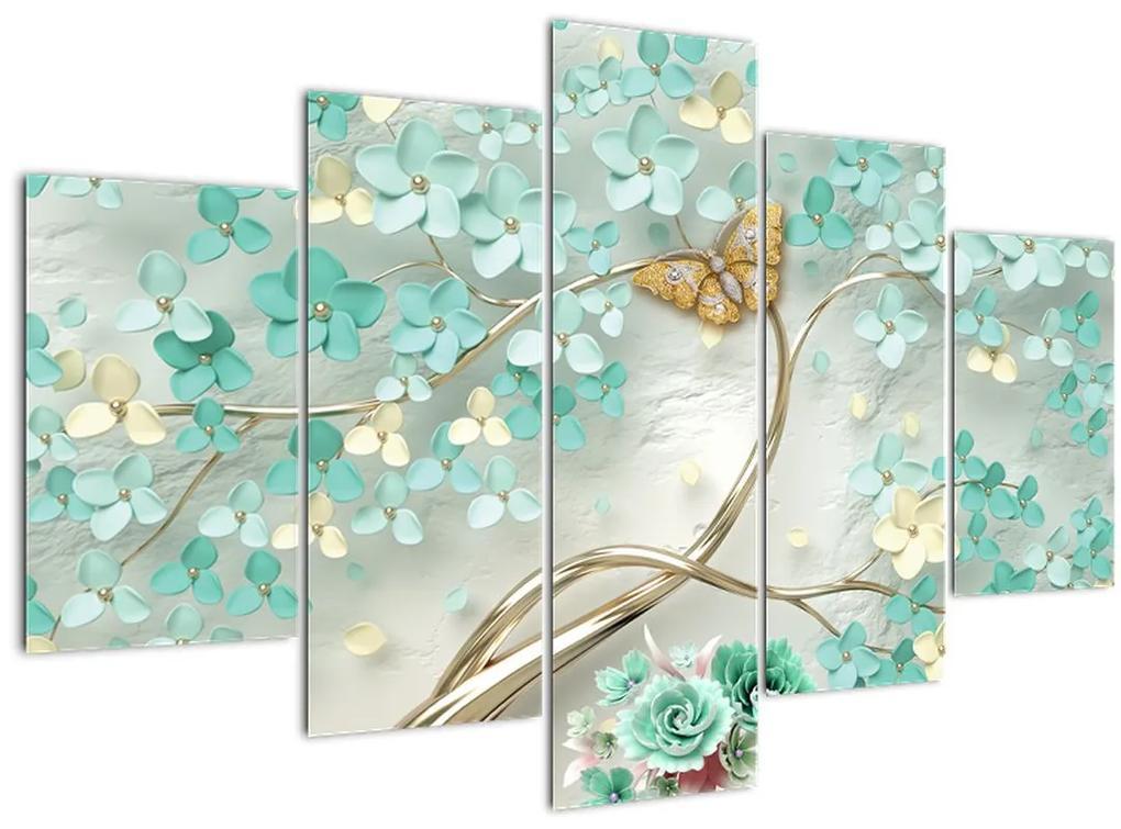 Virágok pillangóval képe (150x105 cm)