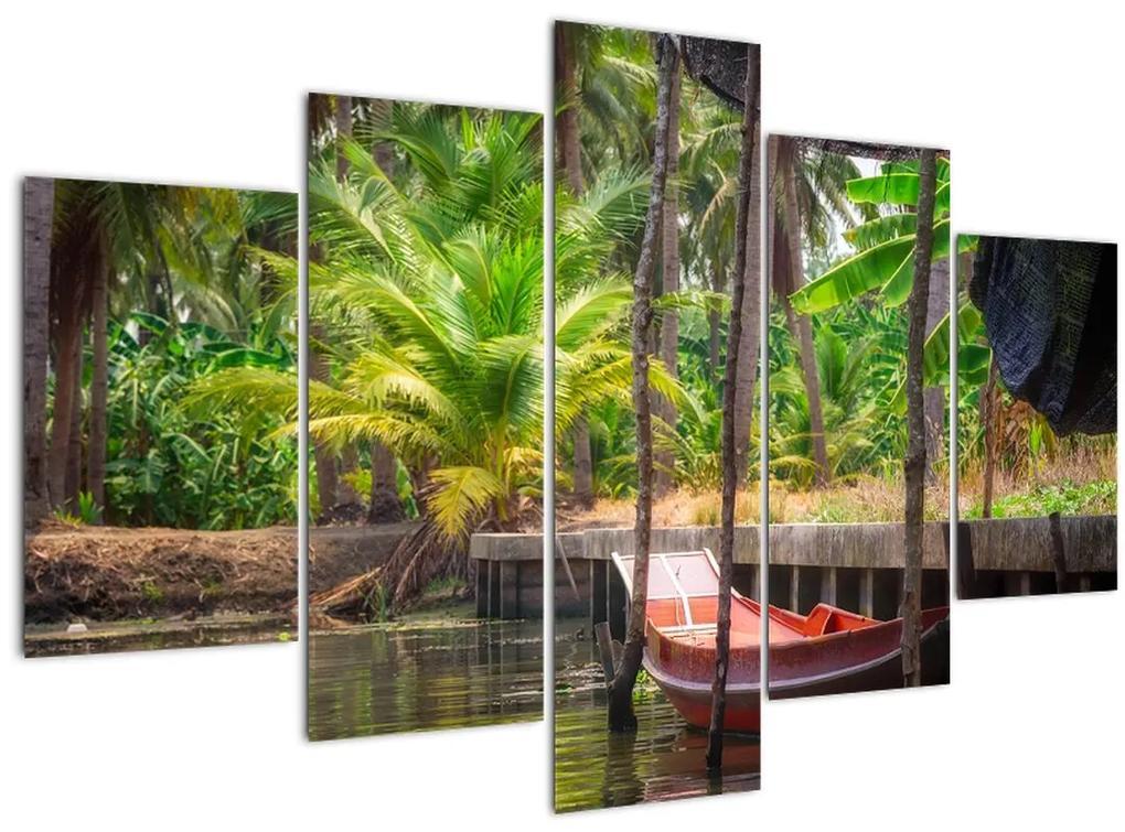 Kép - Fából készült hajó a csatornán, Thaiföld (150x105 cm)