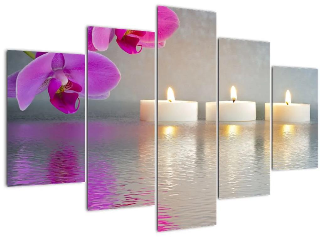 Gyertyák a vízen képe (150x105 cm)