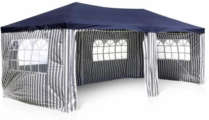 Kerti sátor pavilon GARTHEN Kék 3 x 6 m + 4 oldalfal