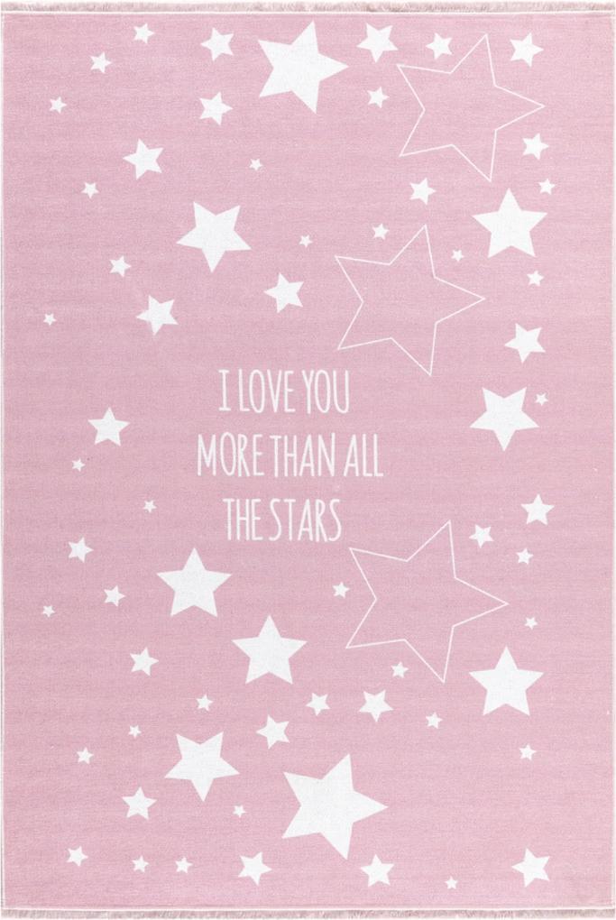 LOVE YOU STARS gyerekszõnyeg rózsaszín