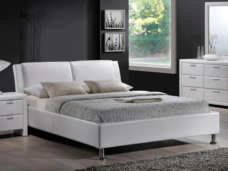 Kárpitozott ágy MITO 140 x 200 cm fehér/króm