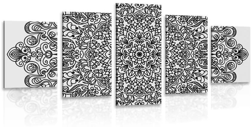 5 részes kép virág mintával fekete fehérben