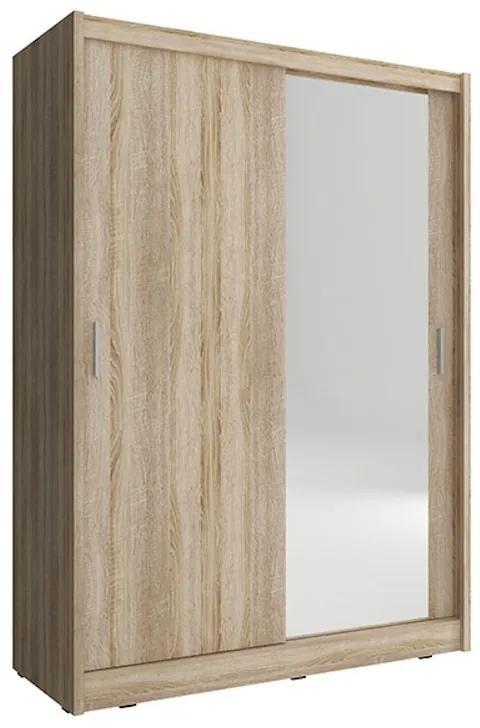 NANA ruhásszekrény, 130x200x60 cm, 1 db tükör, sonoma tölgy
