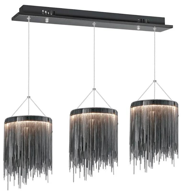 Milagro LED Csillár zsinóron CASCATA BLACK 3xLED/54W/230V MI0940