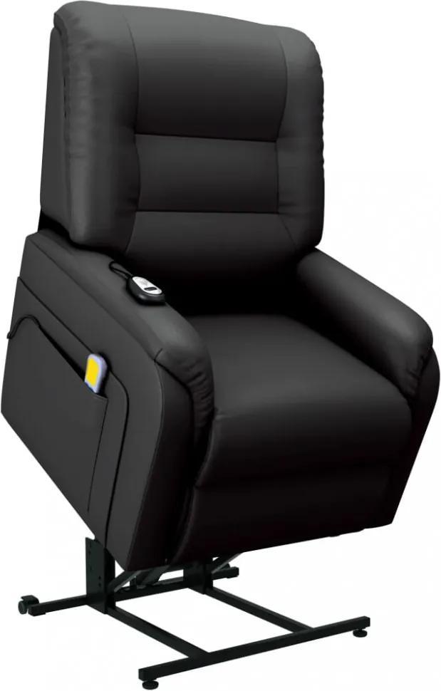 Fekete dönthető/emelhető elektromos műbőr tv-masszázsfotel