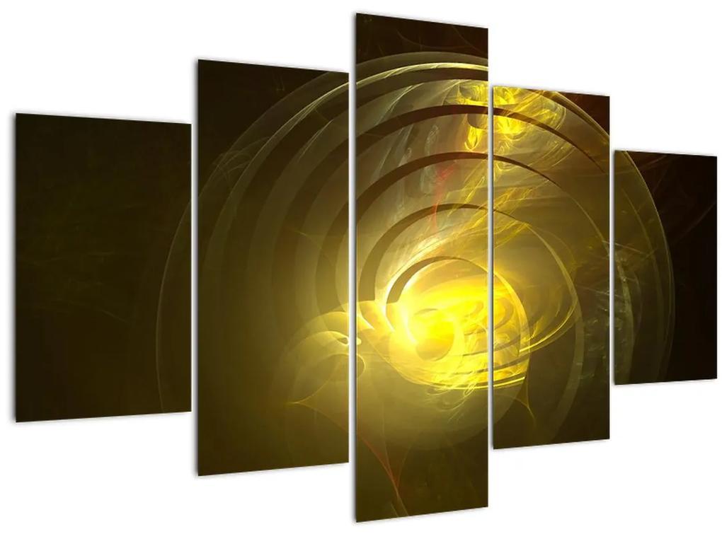 Sárga absztrakt spirál képe (150x105 cm)