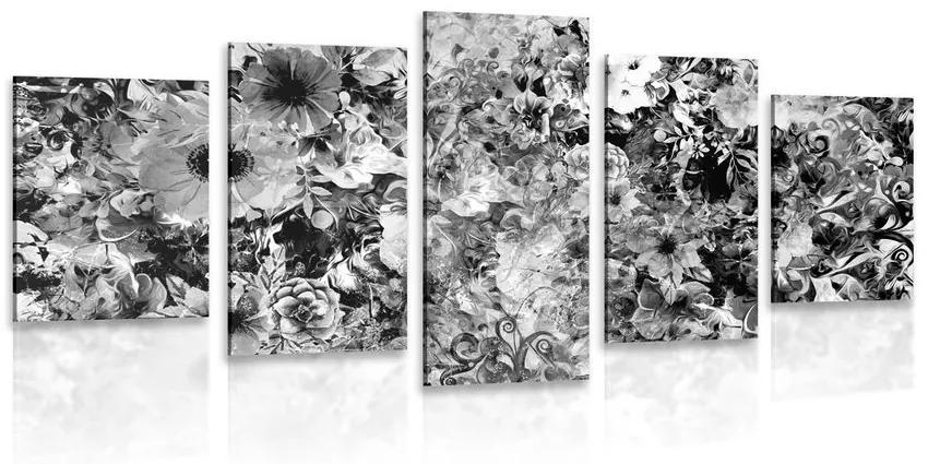 5 részes kép virágok fekete fehérben