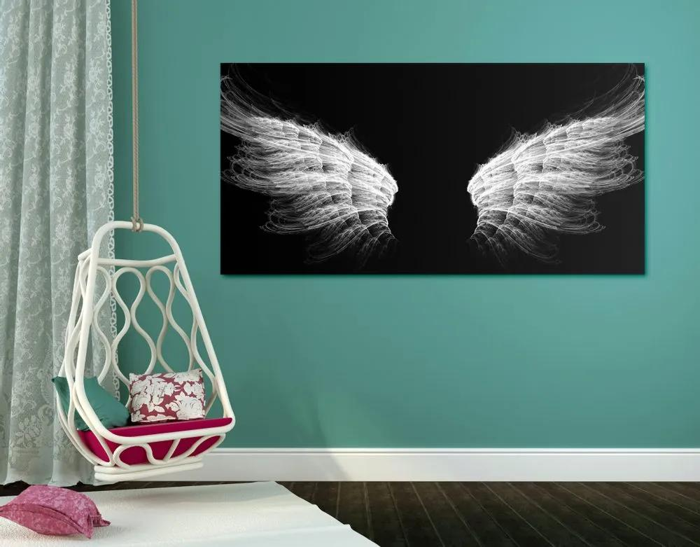 Kép angyal szárnyak fekete fehérben