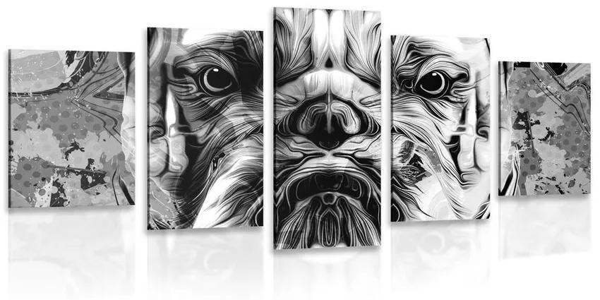 5 részes kép bulldog fekete fehérben