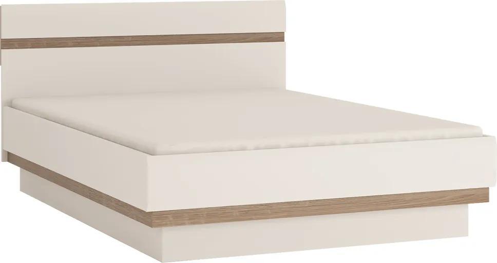 Ágy 140, fehér extra magas fényű HG/tölgy sonoma sötét trufla, LYNATET TYP 91