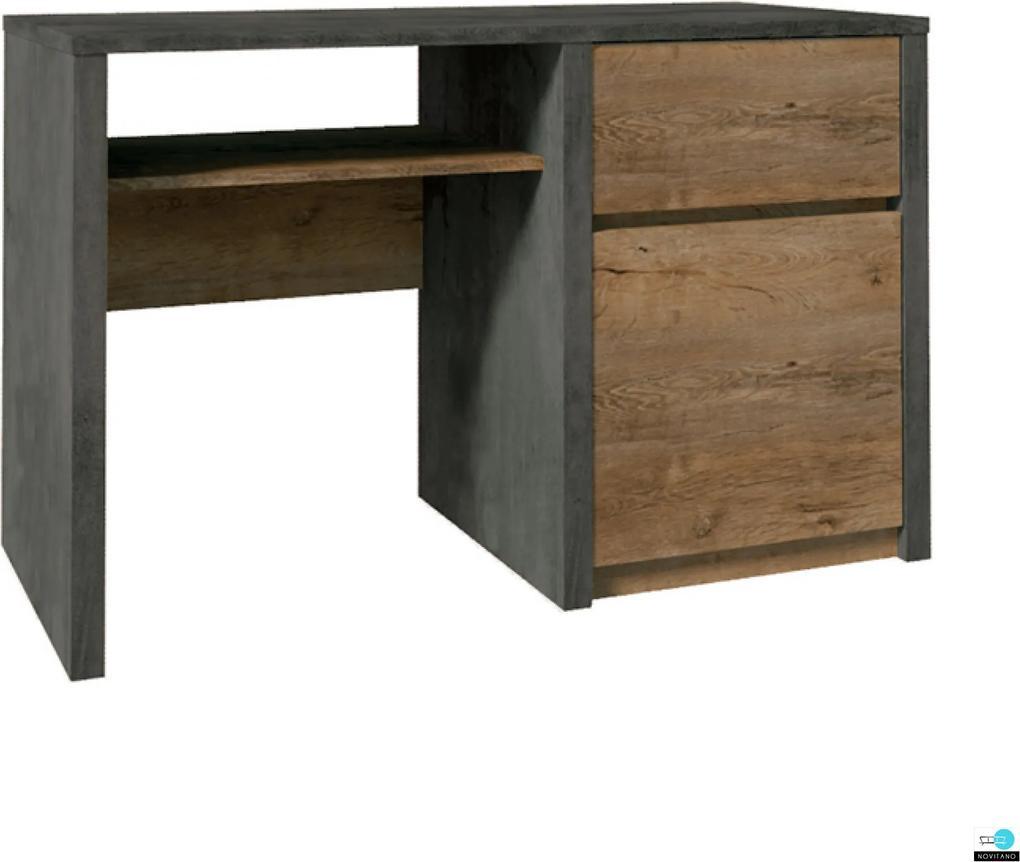 PC asztal, tölgy lefkas sötét/smooth szürke, MONTANA B1
