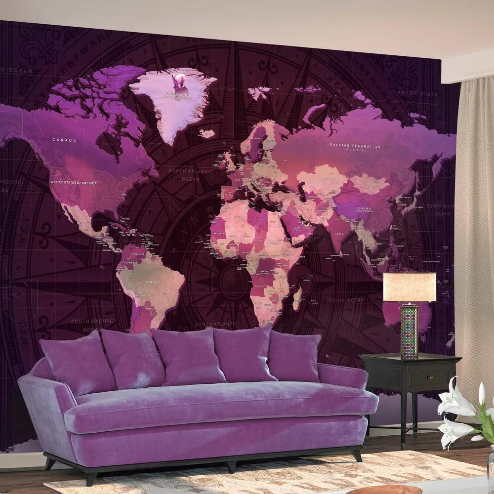 Fotótapéta - Purple World Map