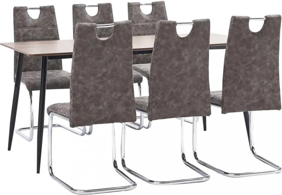 7-részes barna műbőr étkezőgarnitúra