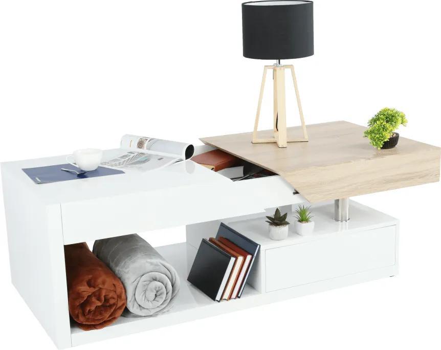 Dohányzó asztal , fehér fény/tölgy sonoma, MELIDA