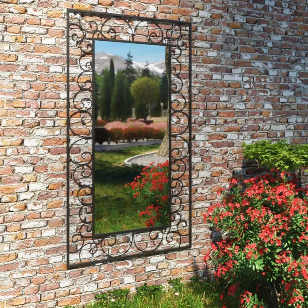 Fekete téglalap alakú kerti falitükör 60 x 110 cm