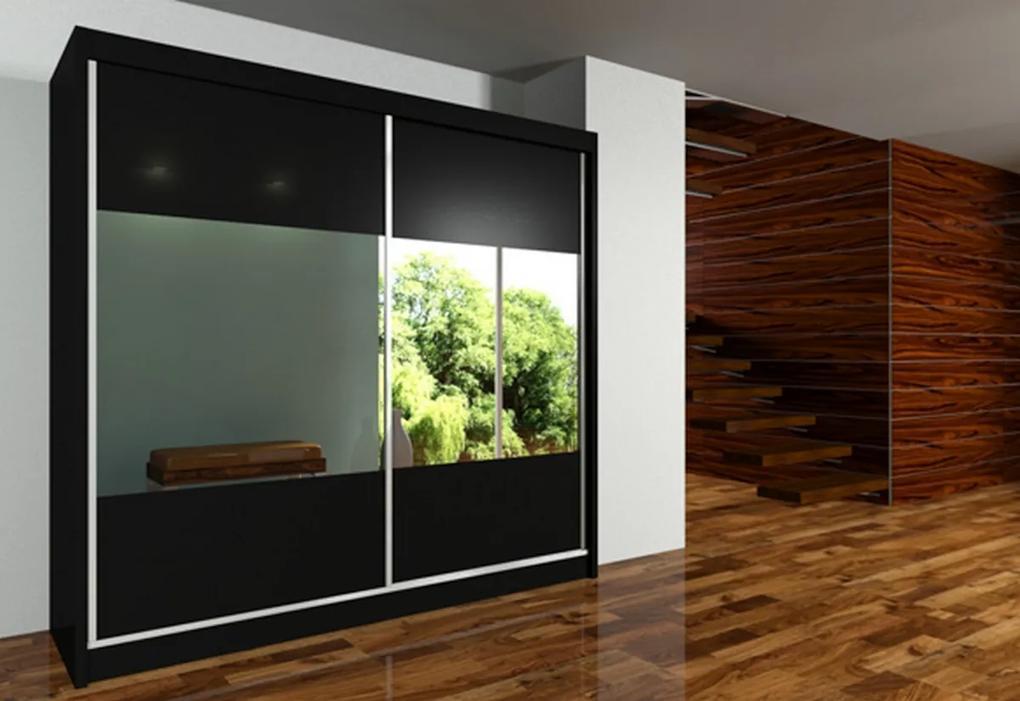 IRINA tolóajtós ruhásszekrény tükörrel, fekete, 200x216x61