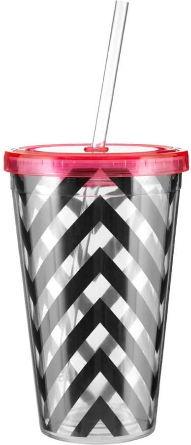 Chevron csíkos pohár rózsaszín fedéllel, 450 ml - Premier Housewares
