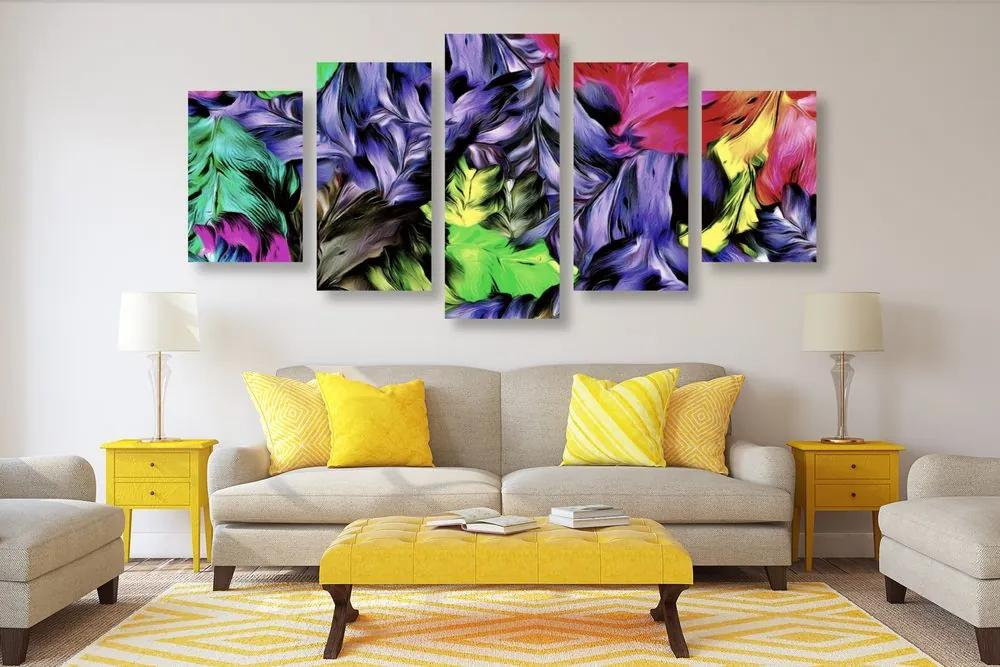 5 részes kép virágok retró kivitelben