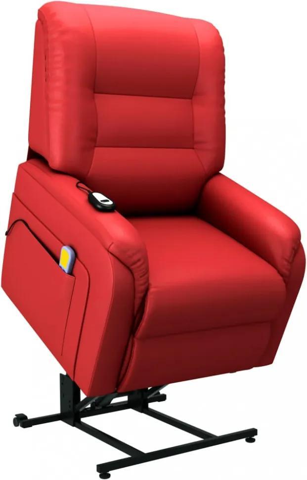 Piros dönthető/emelhető elektromos műbőr tv-masszázsfotel