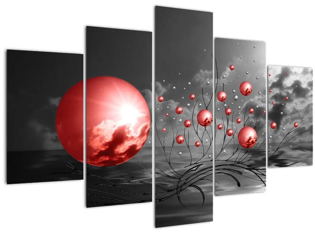 Piros gömbök képe (150x105 cm)