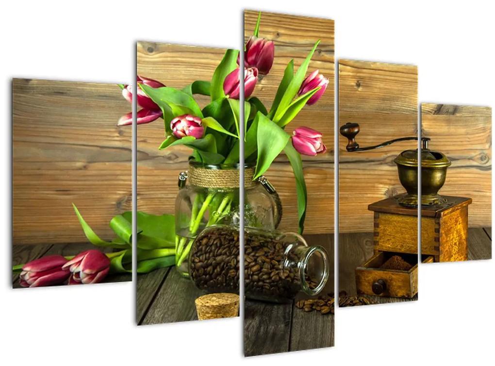 Tulipánok, daráló és kávé képe (150x105 cm)