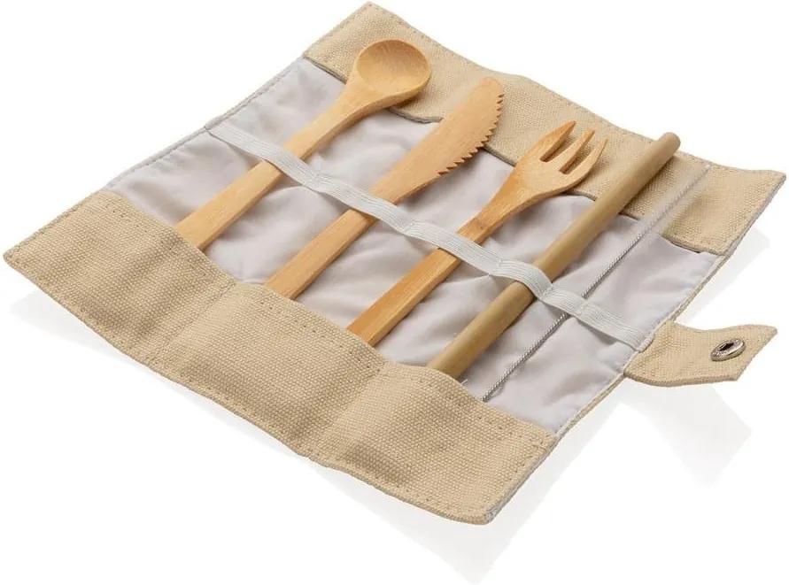 Bambusz evőeszköz és szívószál, tisztítókefe és tartó szett - XD Collection