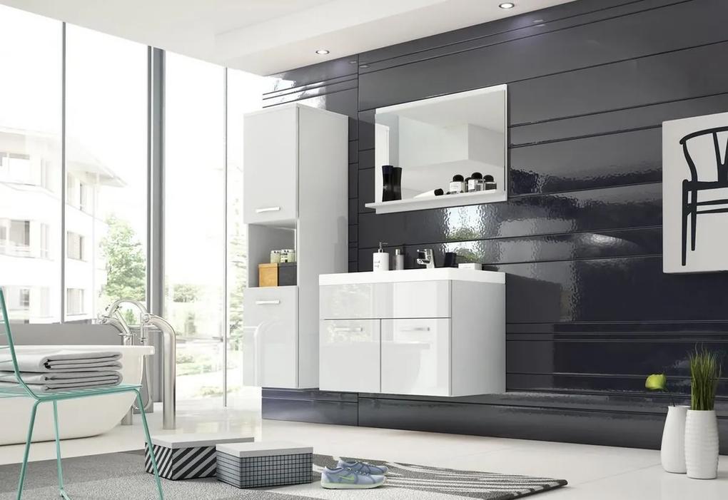 BOTTON fürdőszoba összeállítás mosdóval, fehér/magasfényű fehér