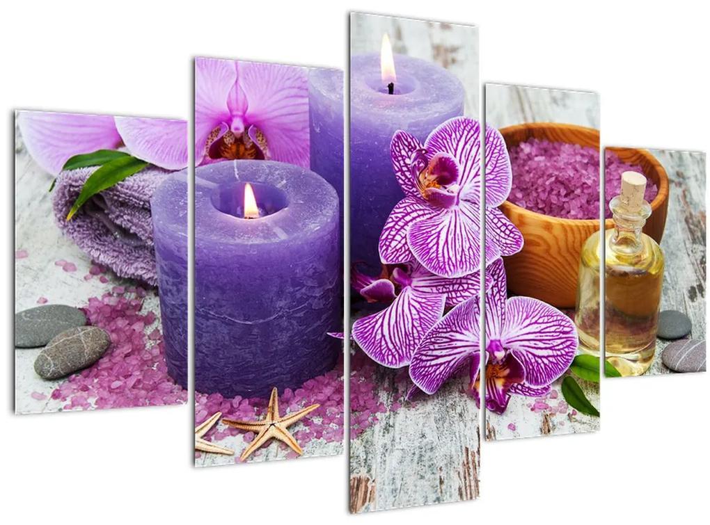 Orchideák és gyertyák képe (150x105 cm)