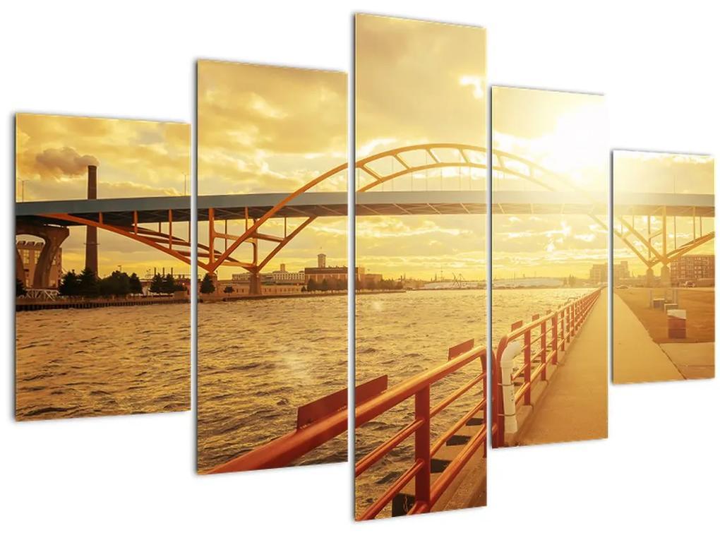 Kép a hídról napnyugtakor (150x105 cm)